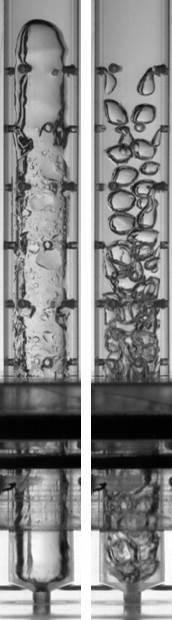 : Innerhalb der Zerstäubungsdüse werden Flüssigkeit und Luft gemischt. Je nach Betriebsparametern variieren die Ergebnisse stark. (Bild: KIT)