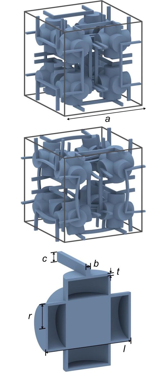 Der Aufbau aus mikrostrukturierten Hohlkörpern und verbindenden Hebeln (unten und oben) ermöglicht Materialen, die das umschlossene Volumen unter Druck vergrößern (mitte). (Bild: J.Qu/M.Wegener/KIT)