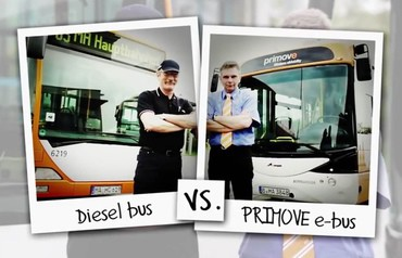 In zwei kurzweiligen Videos stellt das Projekt PRIMOVE die Vor- und Nachteile von Diesel- und Elektro-Bus gegenüber. (Bild: Bombardier Inc. / PRIMOVE)
