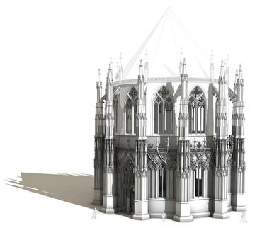 : Virtuelle Rekonstruktion des Zentralbau-Entwurfs einer 1430 bei Frankfurt geplanten Krönungskirche. (Bild: Koch/KIT)